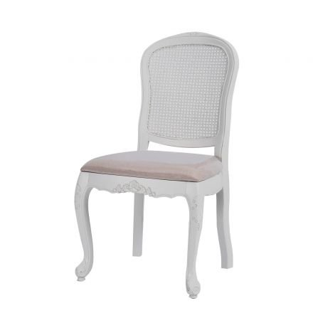 French Provincial White Rattan Dinning Chair