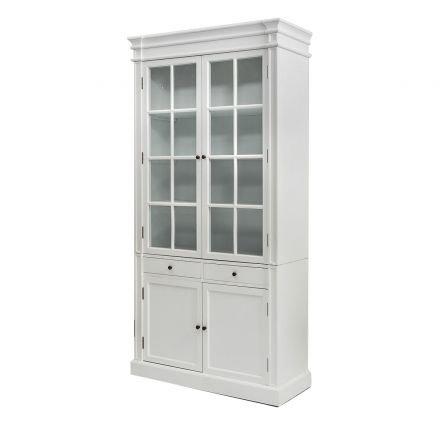 Hamptons 2 Glass Door Display Cabinet /Bookcase in White
