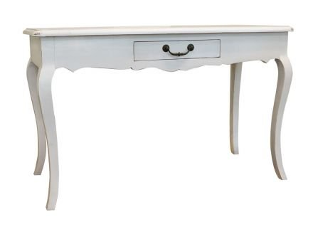 French Provincial Furniture Console Hall Table in Louis White