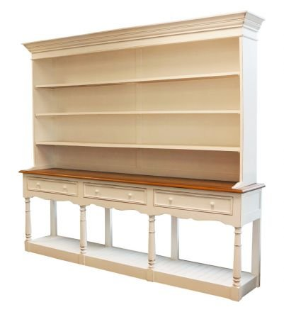 Farmhouse Style Country Rustic Furniture White Cupboard Cabinet / Bookcase