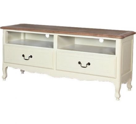 French Provincial Home Furniture White TV Unit Entertainment Stand with Oak Top