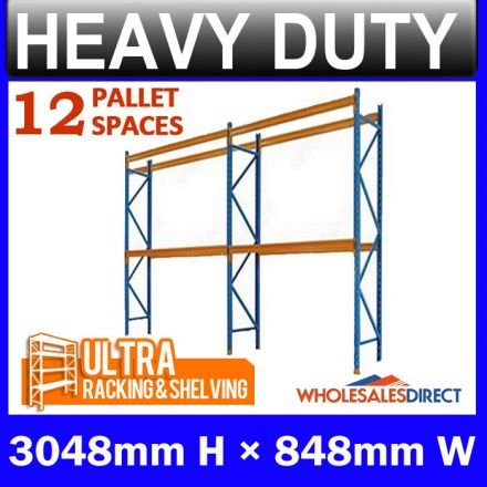 Pallet Racking 2 Bay System 3048mm High 12 Pallet Spaces