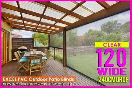 120CM X 240CM Heavy Duty PVC Clear Patio Cafe Blinds Outdoor UV Protect Awning