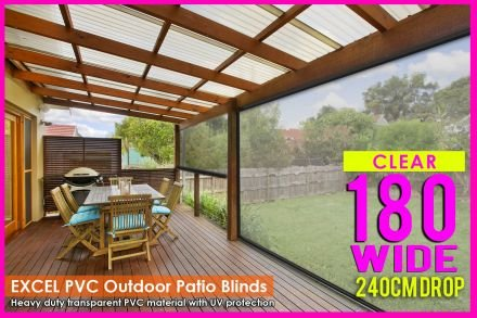 180CM X 240CM Heavy Duty PVC Clear Patio Cafe Blinds Outdoor UV Protect Awning