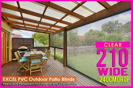 210CM X 240CM Heavy Duty PVC Clear Patio Cafe Blinds Outdoor UV Protect Awning