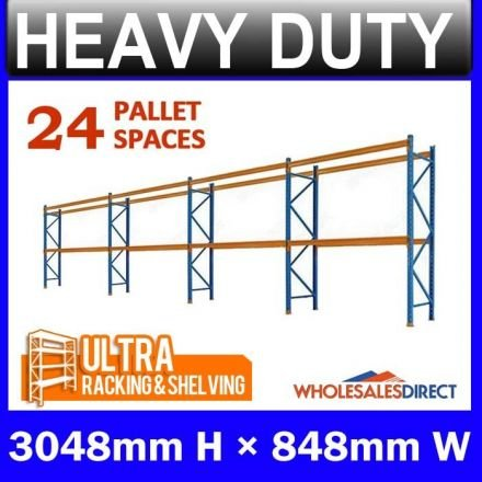 Pallet Racking 4 Bay System 3048mm High 24 Pallet Spaces