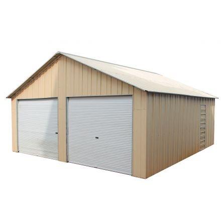 Double Garage 6.6m x 7.2m x 3.7m Widespan Roller Door Workshop Cream or Rivergum