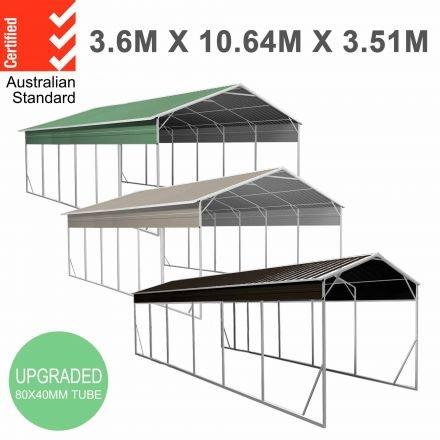 Carport 3.6 x 10.6m x 3.51m (Gable) Backyard Boat Portable Vehicle Shelter