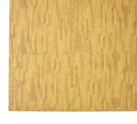 12 Tiles Eva Fitness Home Yoga Gym Interlocking Floor Puzzle Mat - Wood Colour