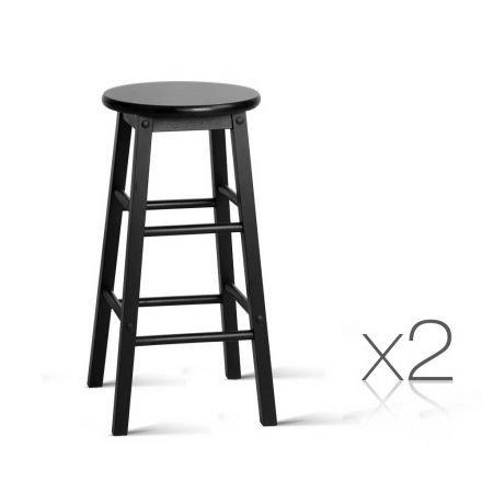 Set Of 2 Wooden Bar Stool Black