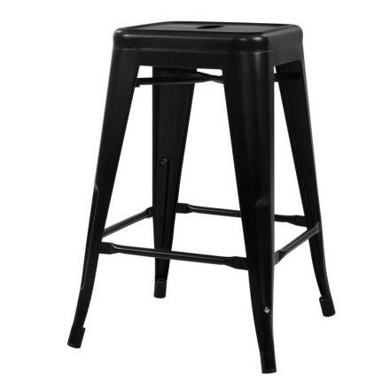 Set Of 4 Replica Tolix Kitchen Bar Stool 66cm Black