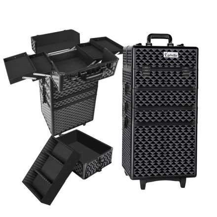 4 In 1 Portable Beauty Make Up Cosmetic Trolley Case Diamond Black