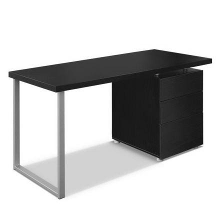 Office Study Computer Desk W/ 3 Drawer Cabinet Black
