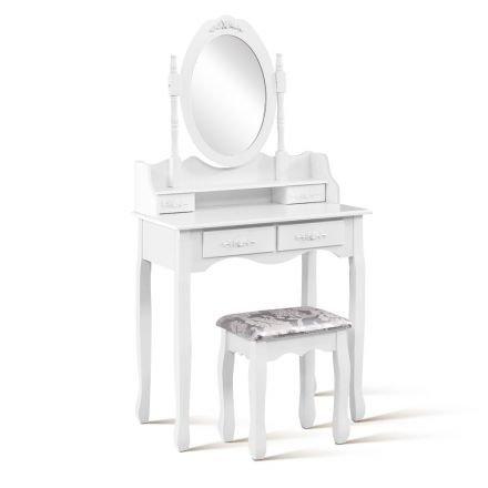 4 Drawer Dressing Table W/ Mirror White