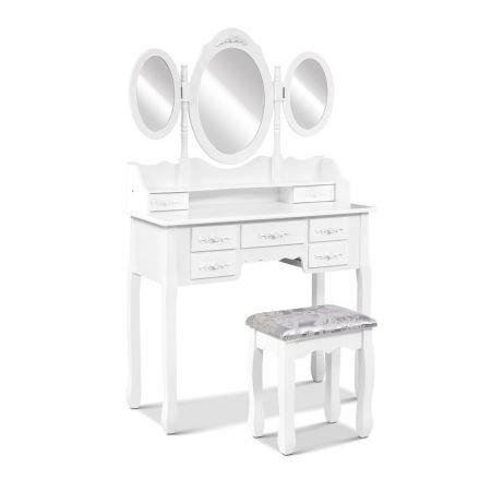 7 Drawer Dressing Table W/ Mirror White