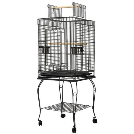 Parrot Pet Aviary Bird Cage W/ Open Roof 145cm Black