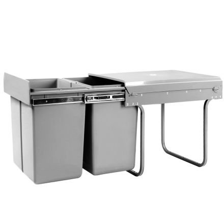 Duel Side Pull Out Rubbish Waste Basket 2 X 20l