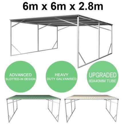 Carport 6m x 6m Vehicle Shelter Skillion Steel Double Carport plus 80X40MM Tube