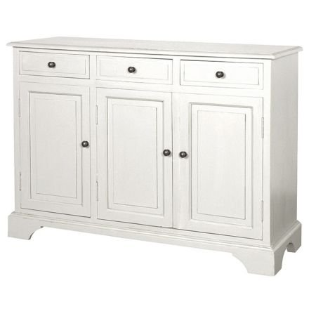Hamptons Modern Buffet Sideboard Cabinet in White - 3 Sections