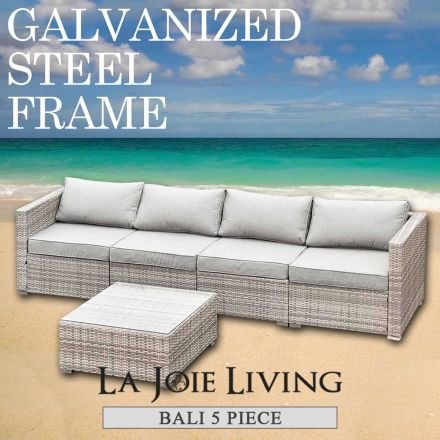 Bali 4 Seater Outdoor Sofa Modular 5 Piece Set Rattan Furniture Lounge Light Ash Brown