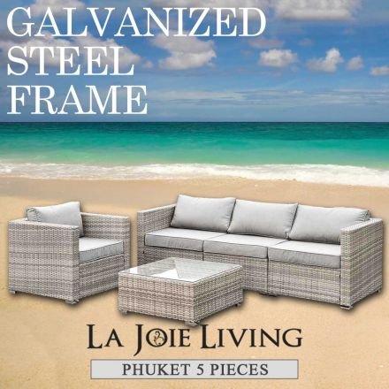 Phuket 5 Piece 4 Seater Outdoor Sofa Lounge Set Furniture Modular Rattan Steel Frame Light Ash Brown