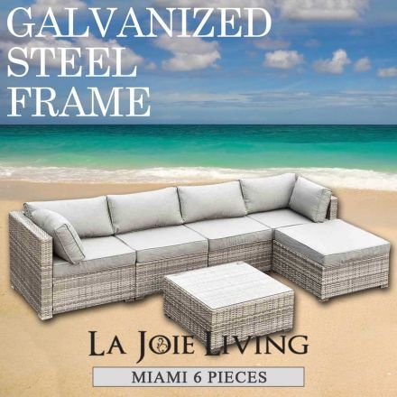 Miami 5 Seater Outdoor Sofa Modular 6 Piece Set Rattan Furniture Lounge Light Ash Brown