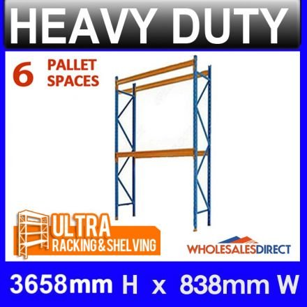 ULTRA Pallet Racking 6 Space Package features 3658mm H x 838mm