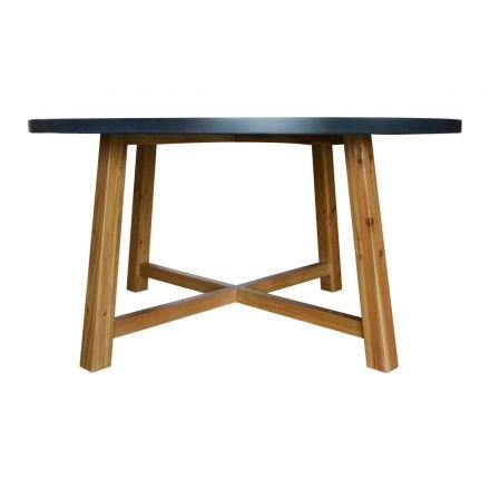 Detroit Industrial Round Dining Table with Oak Base