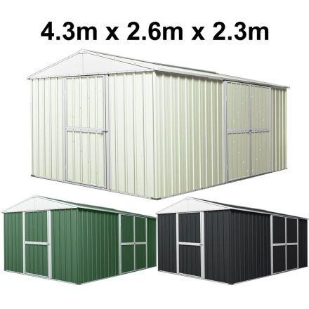 Garden Shed 4.3m x 2.6m x 2.3m Double Barn Door