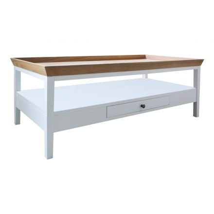Hamptons Halifax Furniture White Coffee Table with Natural Oak Tray top
