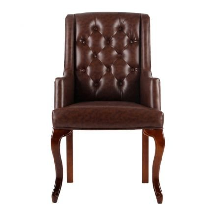 Chesterfield Wingback Arm Carver Dining Chair in Dark Brown