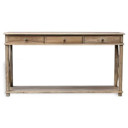 Hamptons Halifax Side Cross Drawers Console Hall Table Furniture Natural Oak
