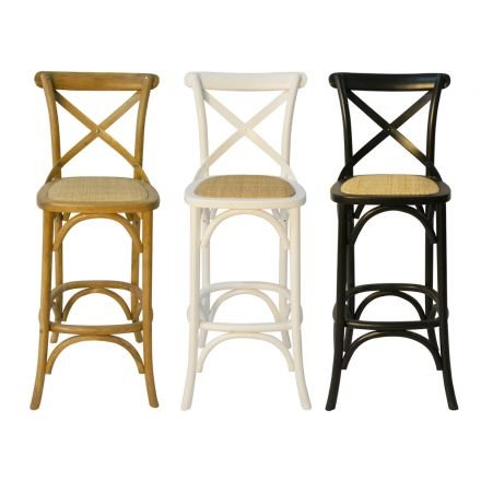 Hamptons Cross Back Bar Stool Birch American Oak Rattan Seat