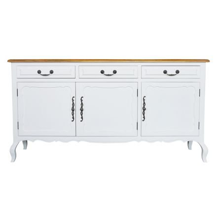 French Provincial Sideboard Buffet Table in White with Natural Oak Top