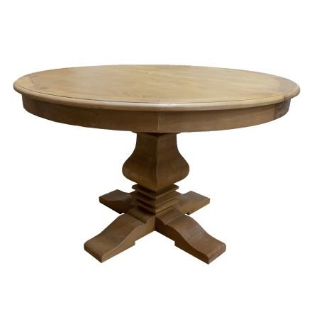 French Provincial Classic Elm Extendable Round Pedestal Dining Table