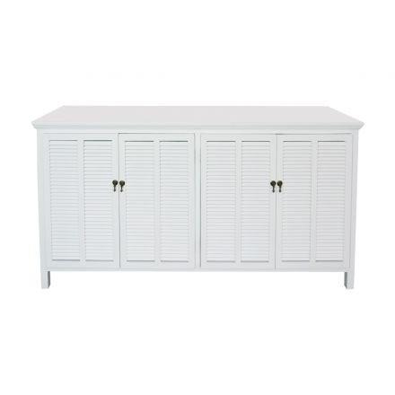 Hamptons Louvre 4 Door Sideboard Buffet Cabinet in White or Black