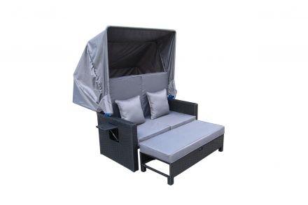 Fiji PE Wicker Outdoor Canopy Sofa Bed Sun Lounger Rattan Furniture Set