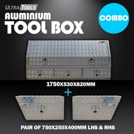 COMBO - Ultra Tools 2.5mm Aluminium 1750x530x820mm Side Opening Tool Box With 3 Drawers + 1.5mm Aluminium 750x250x400mm Under Tray Side Tool Box