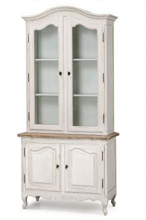 French Provincial Vintage Glass Display Buffet and Hutch Cupboard Cabinet in White