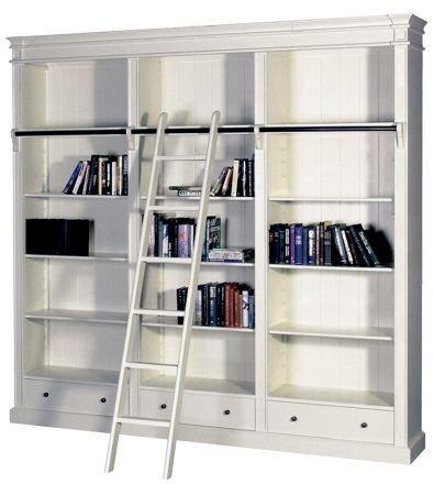 Hamptons Open Library Bookcase with Ladder White
