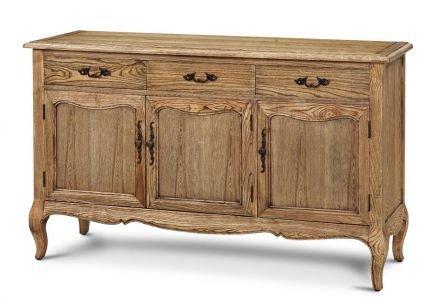 French Provincial Furniture Natural Oak Display Buffet