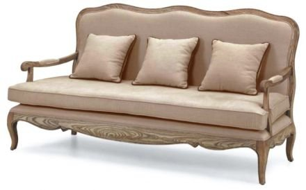 French Provincial Vintage Furniture 3 Seats Sofa with Arm in Natural Oak
