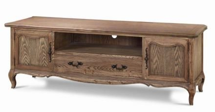 French Furniture Provincial Entertainment Unit TV Stand in Natural Oak