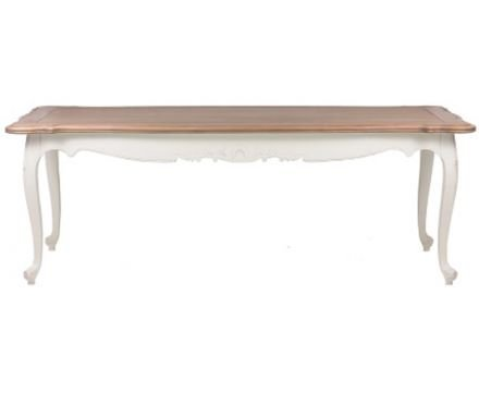 French Provincial Furniture White Dining Table with Natural Oak Top - 190cm