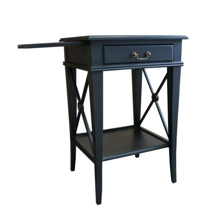 Hamptons Cross Black Bedside Lamp Table with Drawer Left Handle