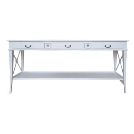 Hamptons Halifax Side Cross 3 Drawers Console Hall Table with Side Pull Out
