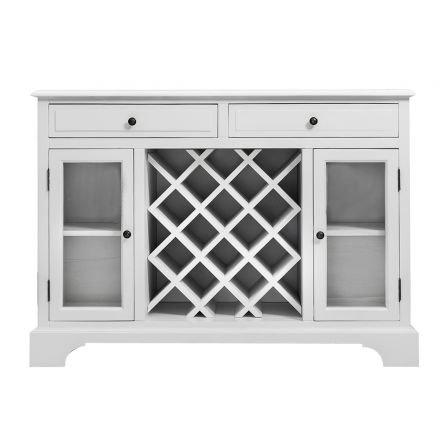 Hamptons Modern 2 Drawer & 2 Glass Door Wine Rack Sideboard Buffet Cabinet White