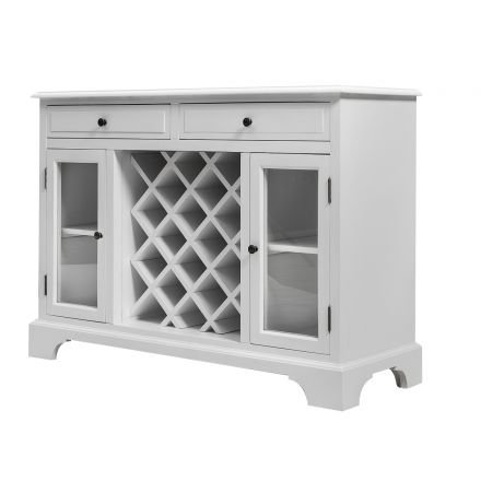 French Provincial Furniture Classic Wine Glass Display Cabinet in White