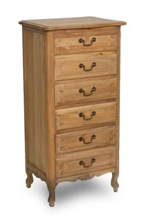 French Provincial 6 Drawer Tallboy Cabinet in Natural Oak