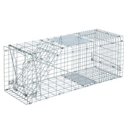 Set Of 2 Humane Animal Trap Cage 66 X 23 X 25cm Silver